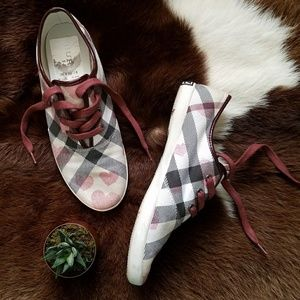Rare Burberry check Heart low pro Sneakers wine 38